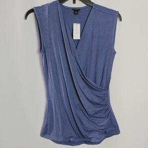 Anne Taylor Blue Wrap Ruched Style Tank Sz XS NWT